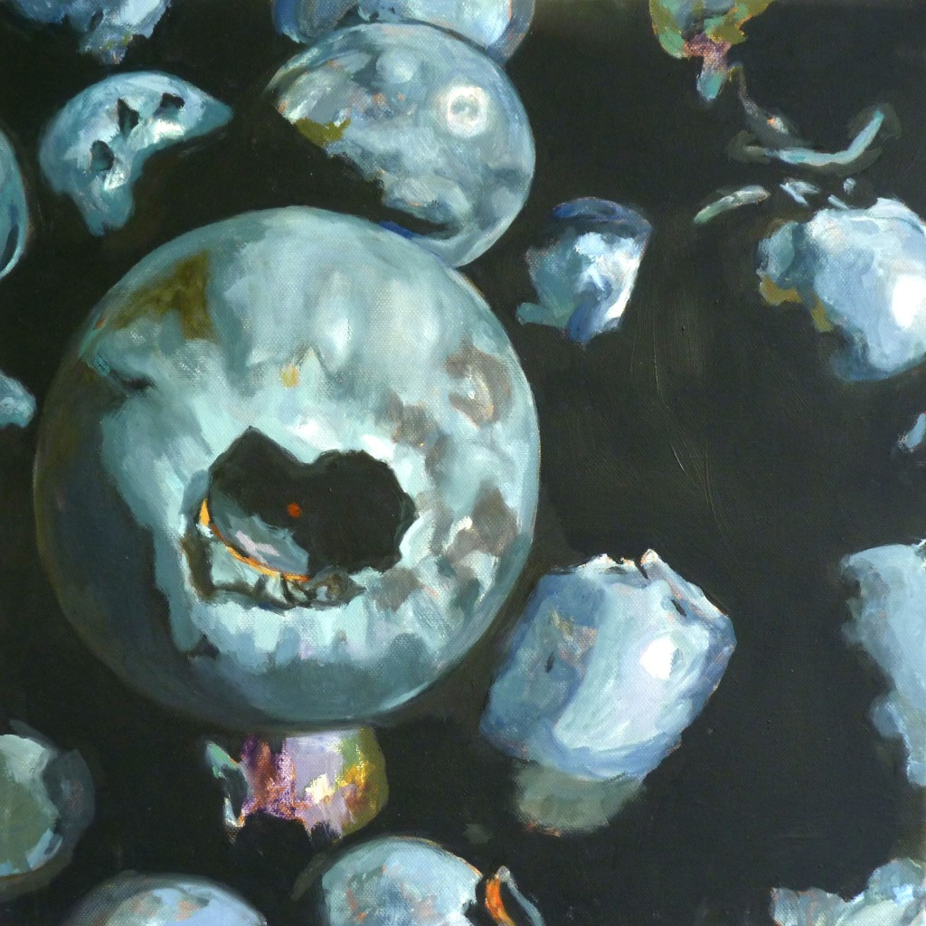 """Blueberries squared, 2014, Huile sur toile, 16"""" x 16"""""""