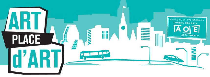 Turquoise Art Place banner with a bus traversing the city